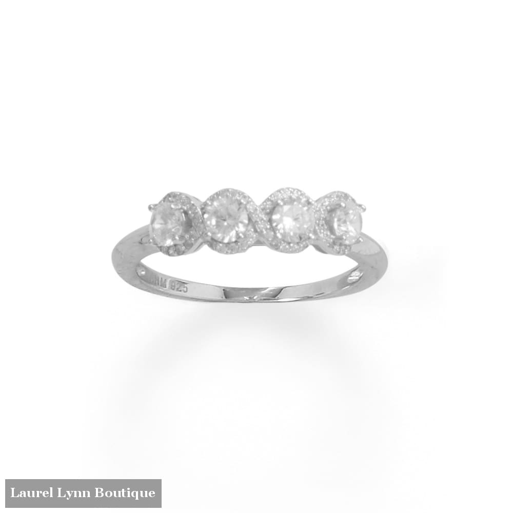 Rhodium Plated 4 CZ with Halo Edge Ring - 83866-9 - Liliana Skye