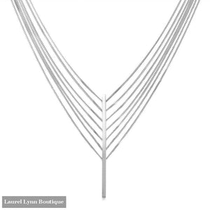 Rhodium Plated 7 Strand Bar Drop Necklace - Liliana Skye - Blairs Jewelry & Gifts