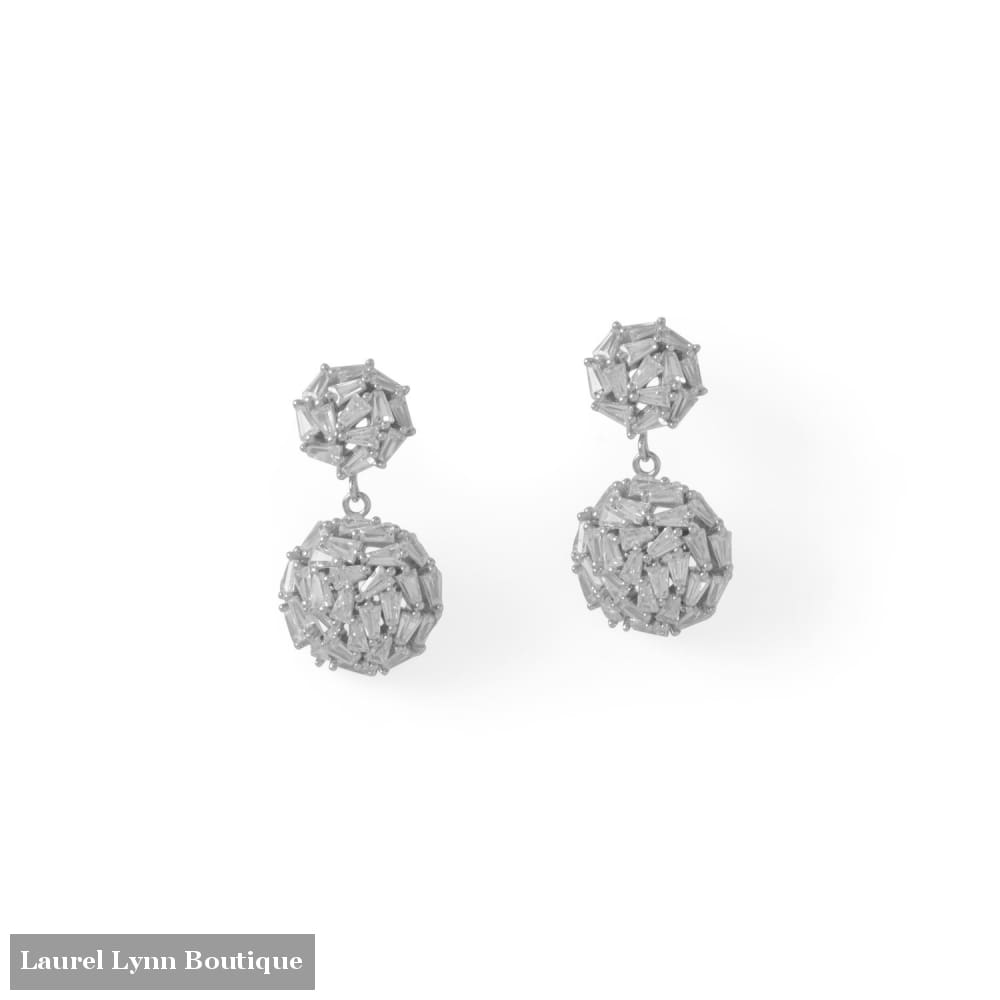 Rhodium Plated CZ 1/2 Dome Drop Earrings - 66528 - Liliana Skye