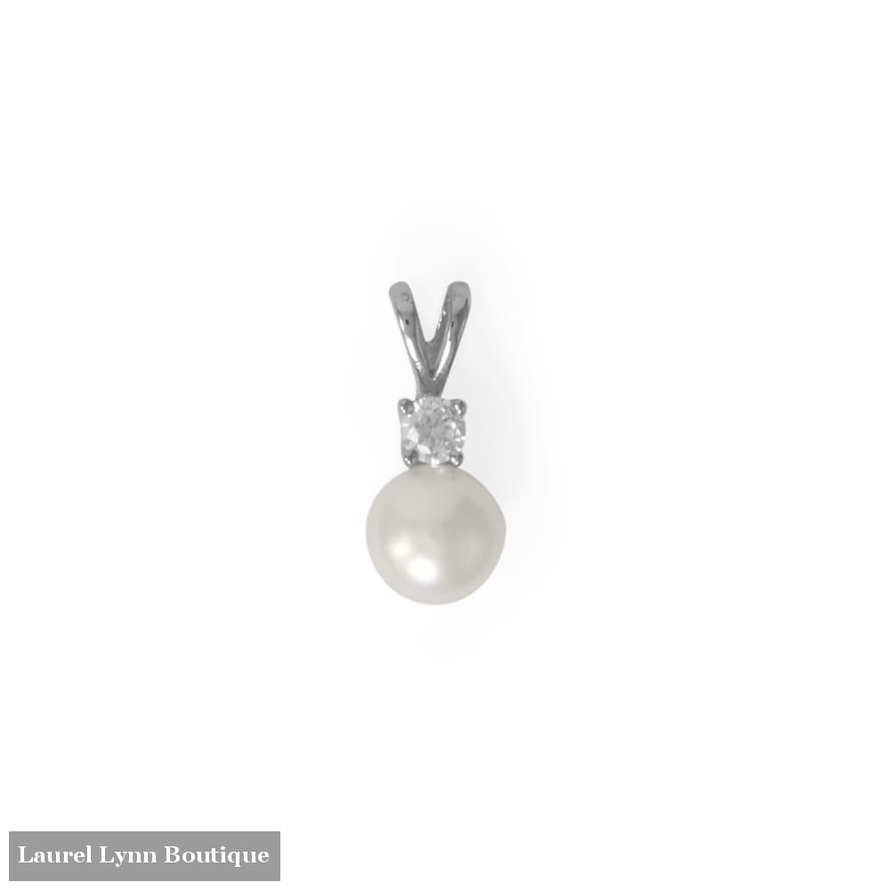 Rhodium Plated CZ and Cultured Freshwater Pearl Slide - 74679 - Liliana Skye