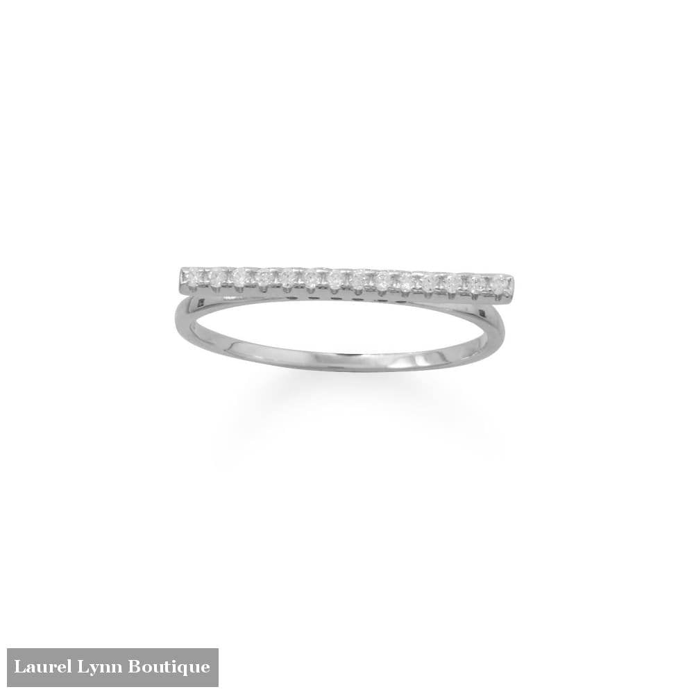 Rhodium Plated Cz Bar Ring - Laurel Lynn Collection - Blairs Jewelry & Gifts
