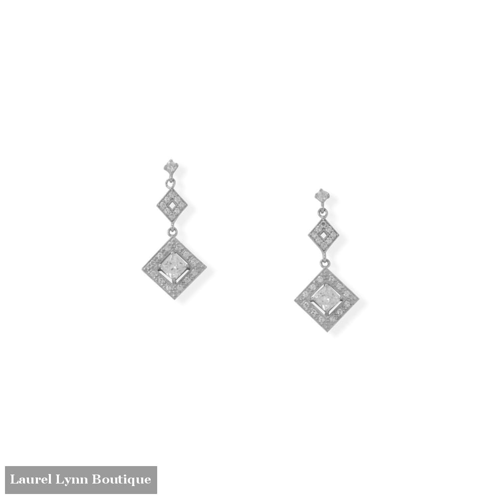 Rhodium Plated CZ Diamond Shaped Drop Earrings - 66527 - Liliana Skye