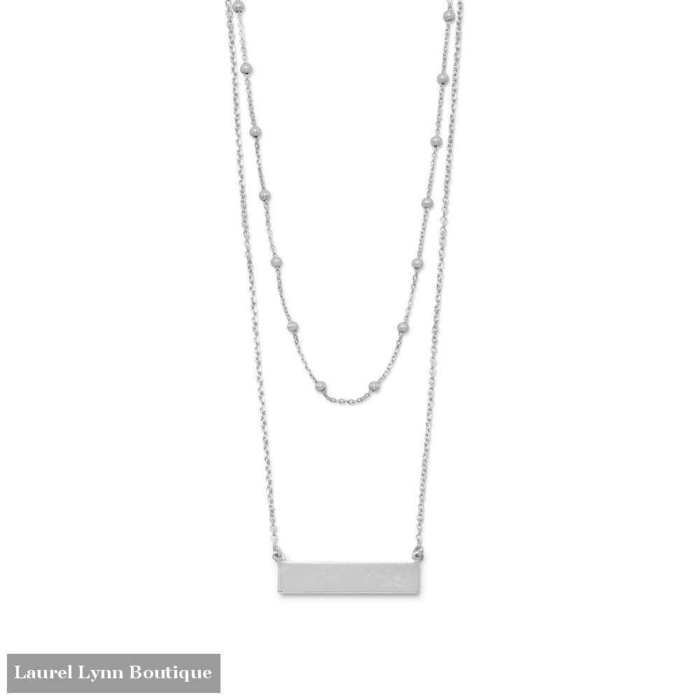 Rhodium Plated Double Strand Engravable Bar Necklace - Liliana Skye - Blairs Jewelry & Gifts