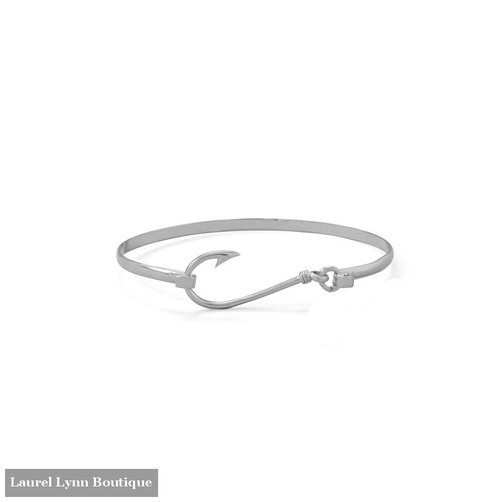 Rhodium Plated Fish Hook Bangle - 23600 - Liliana Skye