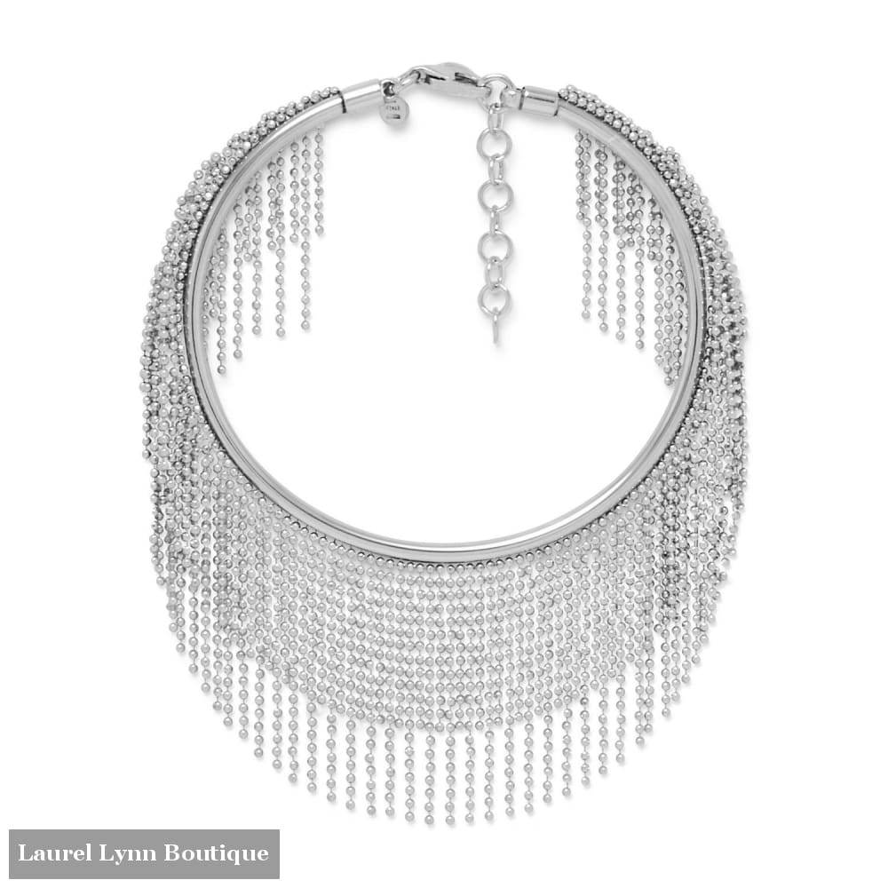 Rhodium Plated Flex Cuff With Dangling Beaded Strands - Liliana Skye - Blairs Jewelry & Gifts