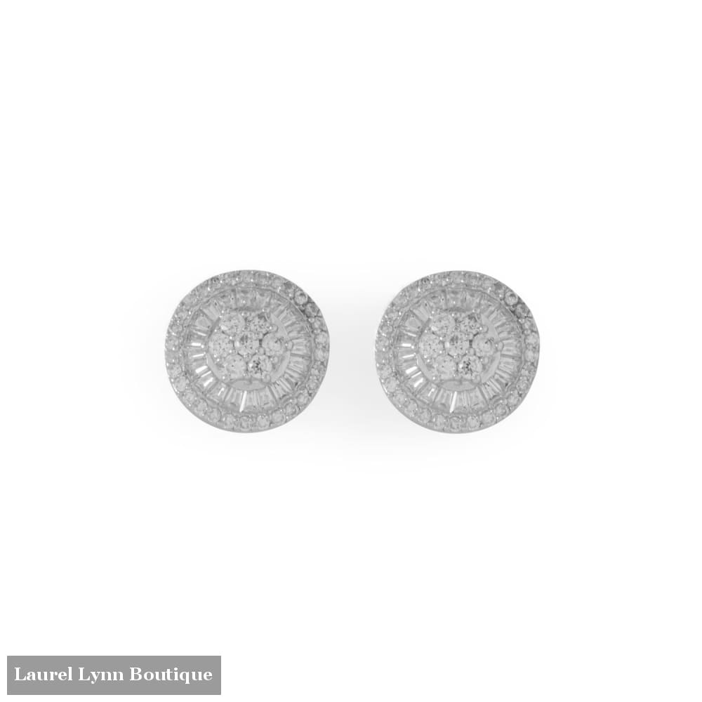Rhodium Plated Round Baguette CZ Post Earrings - 66520 - Liliana Skye