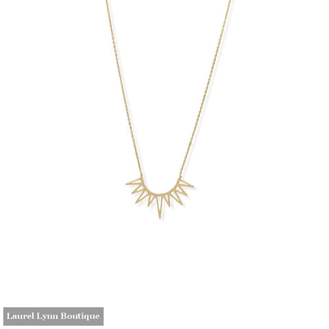 Rise and Shine! 16 + 2 14 Karat Gold Plated Beaded Sun Necklace - 34372 - Liliana Skye