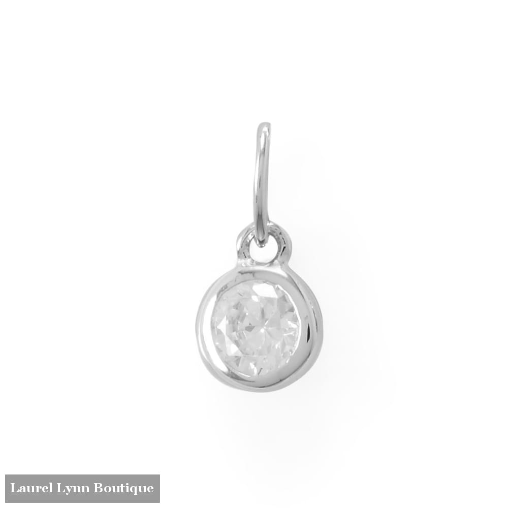 Round CZ April Birthstone Charm - 74646-APR - Liliana Skye