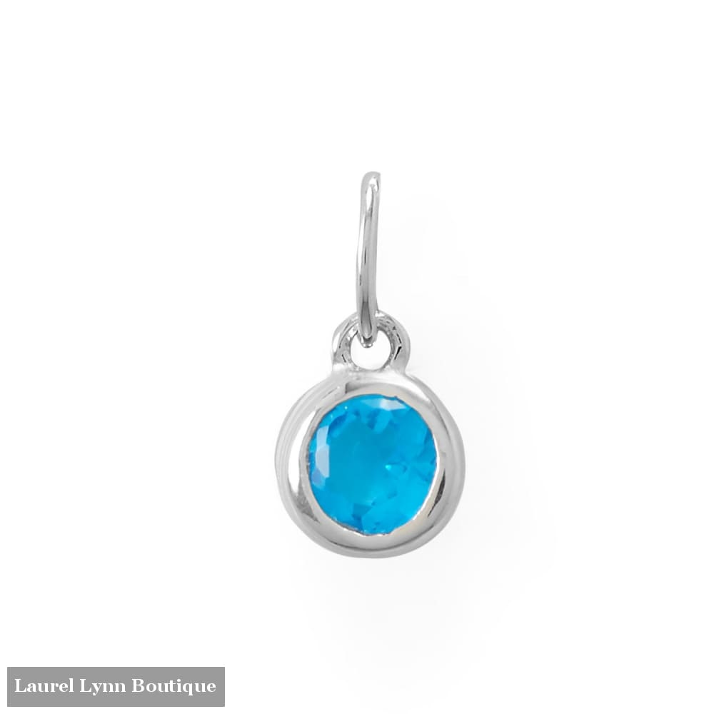 Round CZ December Birthstone Charm - 74646-DEC - Liliana Skye