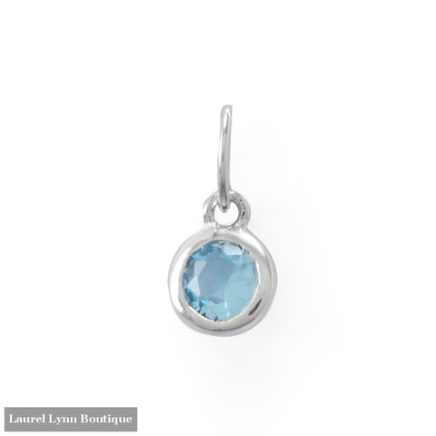 Round CZ March Birthstone Charm - 74646-MAR - Liliana Skye