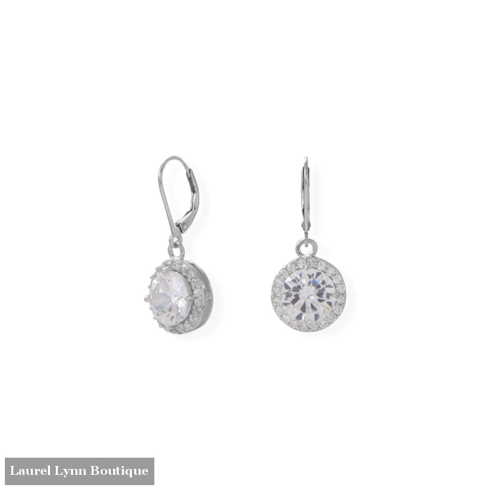 Round CZ with Halo Edge Lever Earrings - 66533 - Liliana Skye