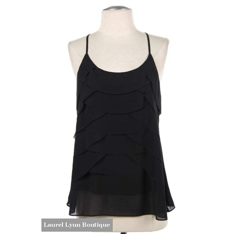 Ruffle Front Tank - Black - Blairs Jewelry & Gifts - Blairs Jewelry & Gifts