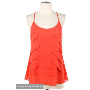 Ruffle Front Tank - Coral - Blairs Jewelry & Gifts - Blairs Jewelry & Gifts