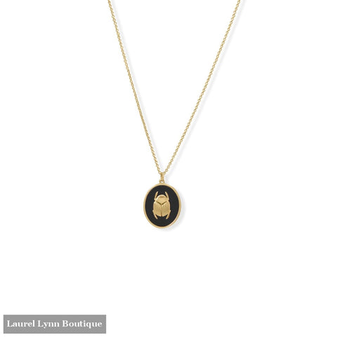 Sacred Scarab! 24 14 Karat Gold Plated Black Onyx Necklace - 34363 - Liliana Skye