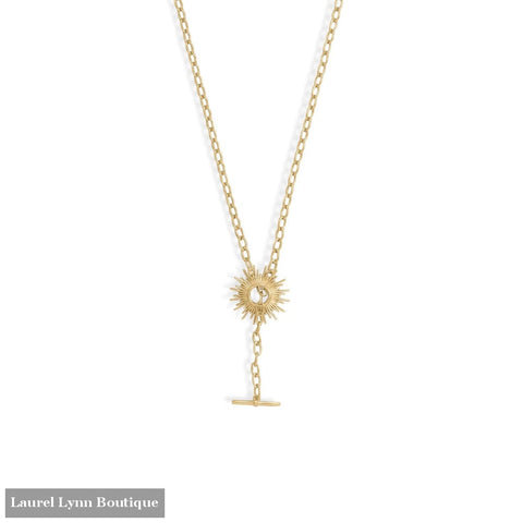 Shine On! 16.5 14 Karat Gold Plated Sunburst Toggle Necklace - 34369-16 - Liliana Skye
