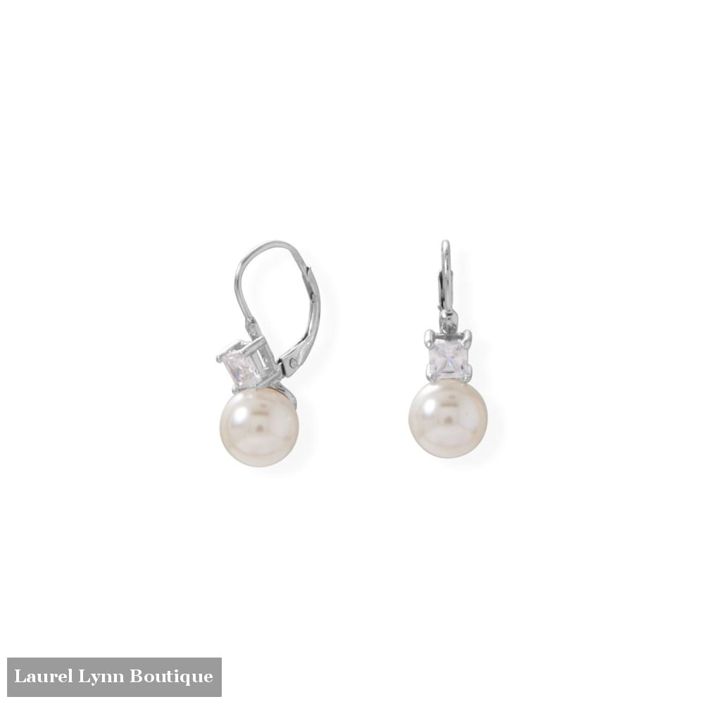 Simulated Pearl and Square CZ Lever Earrings - 66525 - Liliana Skye