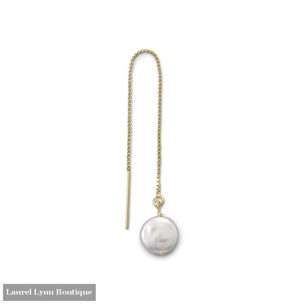 Single Cultured Freshwater Coin Pearl Threader Earring - Liliana Skye - Blairs Jewelry & Gifts