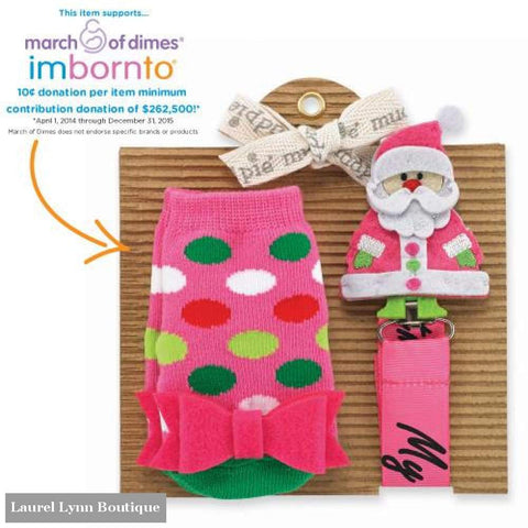Sock & Pacy Clip Set - Pink Santa - Mud-Pie - Blairs Jewelry & Gifts