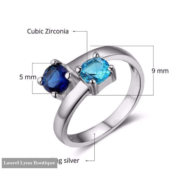 Sterling Silver Double Birthstone Ring - Jewelora - Blairs Jewelry & Gifts