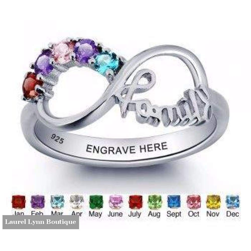 Sterling Silver 5 Stone Family Ring - Jewelora - Blairs Jewelry & Gifts