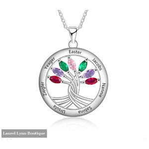 Sterling Silver 7 Stone Mother's Necklace - NE103201 - Laurel Lynn Boutique