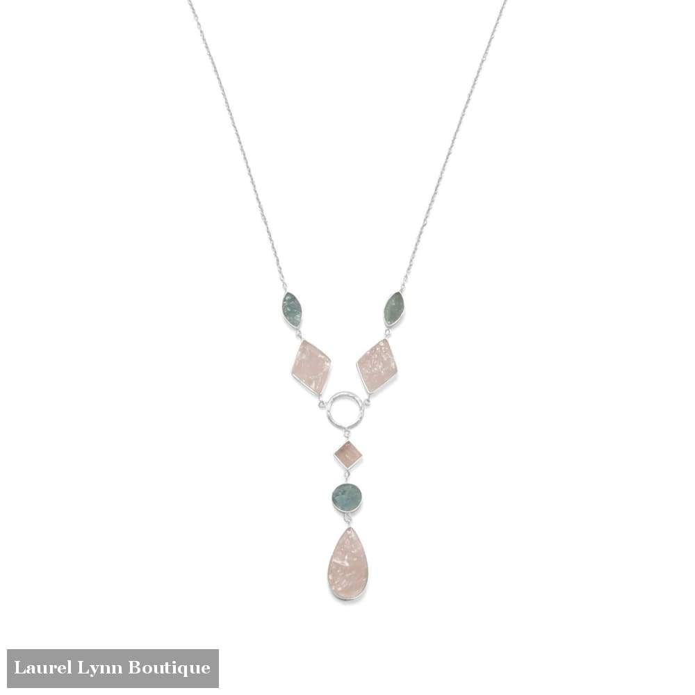 Sterling Silver Aquamarine And Rose Quartz Drop Necklace - Liliana Skye - Blairs Jewelry & Gifts