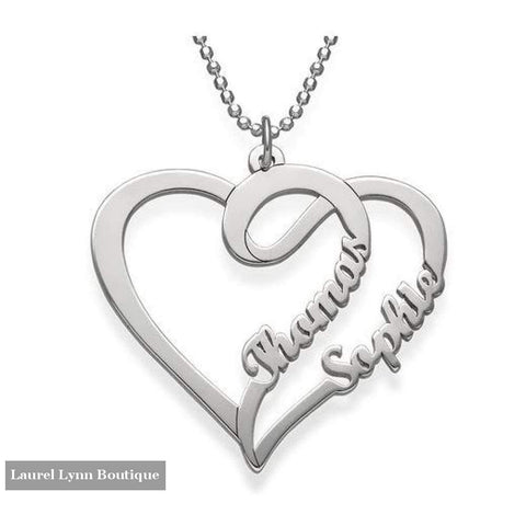 Sterling Silver Heart Double Name Necklace - Jewelora - Blairs Jewelry & Gifts