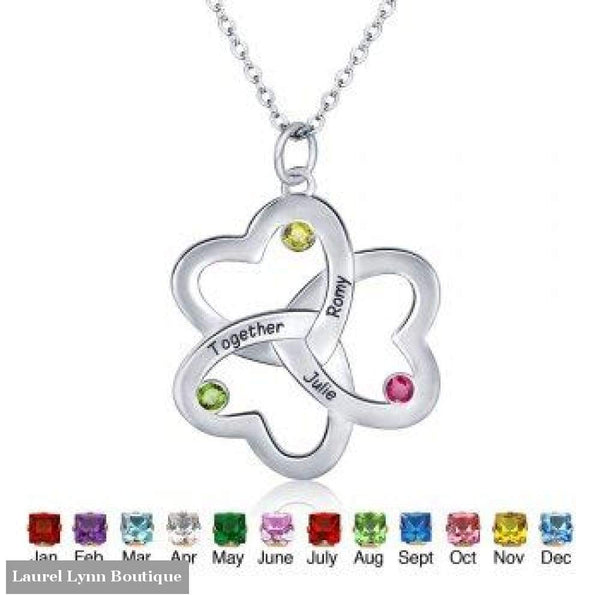 Sterling Silver Heart Family Necklace - Jewelora - Blairs Jewelry & Gifts
