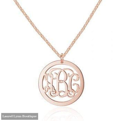 Sterling Silver Monogram Necklace - Rose Plated - Jewelora - Blairs Jewelry & Gifts