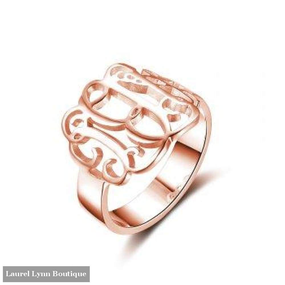 Sterling Silver Monogram Ring - Rose Plated - Jewelora - Blairs Jewelry & Gifts