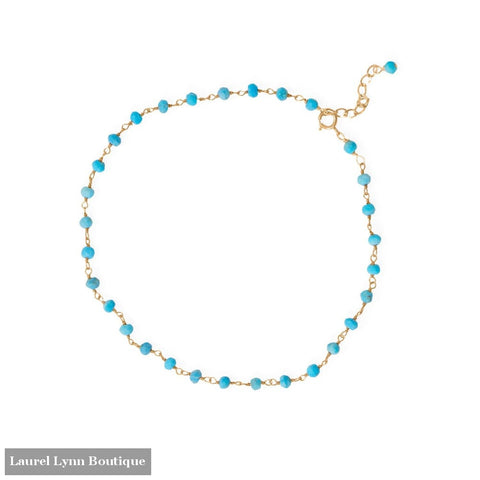 Summer Blues! 9.5+1 14 Karat Gold Plated Beaded Anklet - 92160 - Liliana Skye