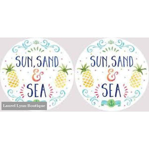 Sun Sand & Sea Car Coaster Set #4046 - Clementine Design - Blairs Jewelry & Gifts