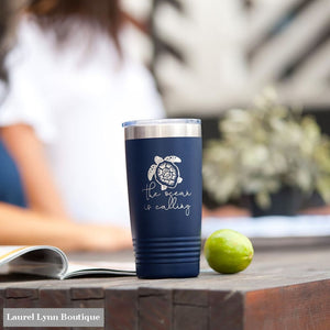 The Ocean is Calling Tumbler - TWB20-TUR-NAVY - Viv & Lou
