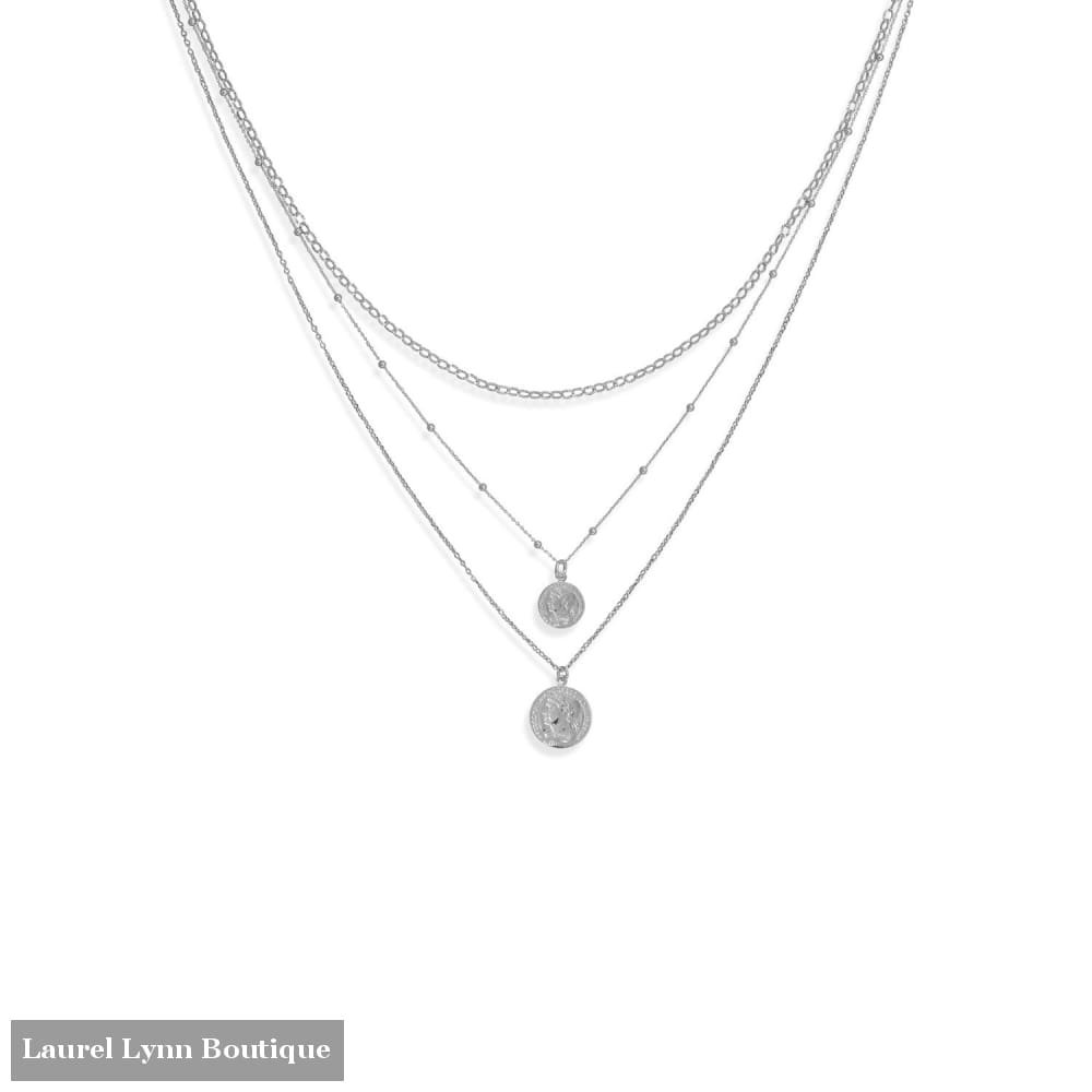 Three Graduated Strand Rhodium Plated Roman Coin Necklace - 34376 - Liliana Skye