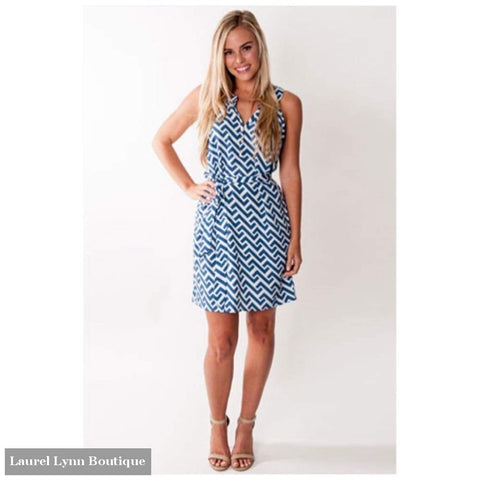 Tilly Halter Dress - Nautical Tide Print - All For Color - Blairs Jewelry & Gifts