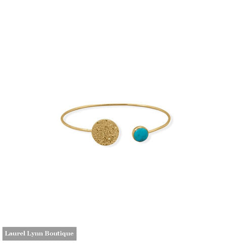 Turquoise and Hammered Disk Cuff Bracelet - 23613 - Liliana Skye