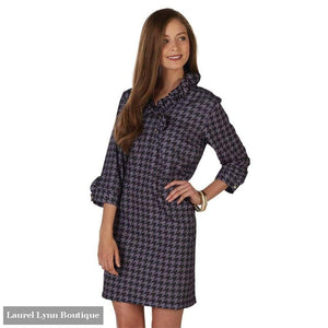 Whitney Ruffle Dress - Gray And Black Houndstooth - Mud-Pie - Blairs Jewelry & Gifts