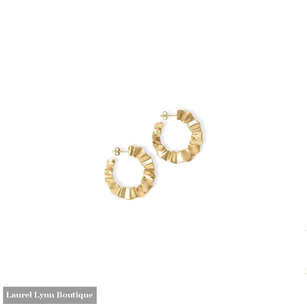 Wonderfully Wavy! 14 Karat Gold Plated Flat Wavy Hoop Earrings - 66573 - Liliana Skye