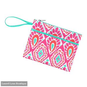 Zip Pouch Wristlet - Discontinued Prints - Beachy Keen / Embroidered - Viv & Lou