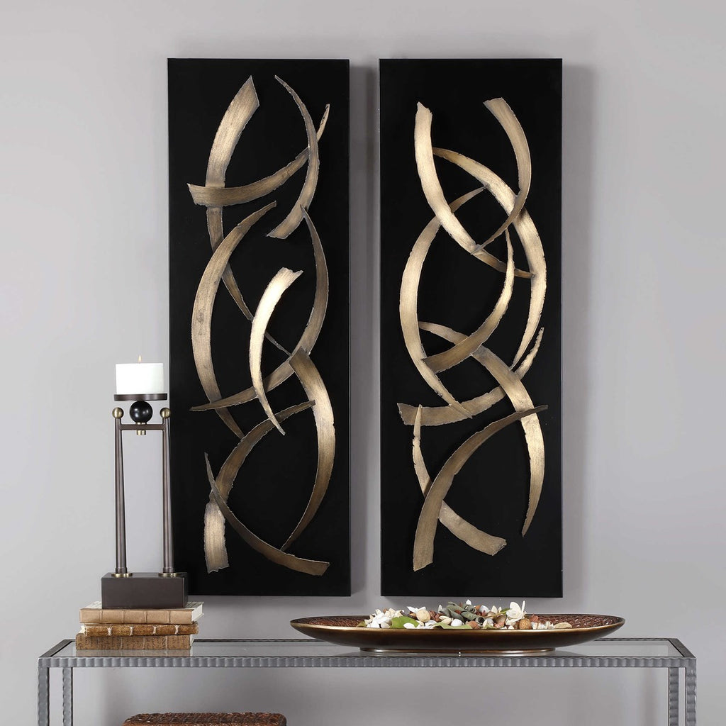 ALL  BRUSHSTROKES METAL WALL PANELS, SET OF 2