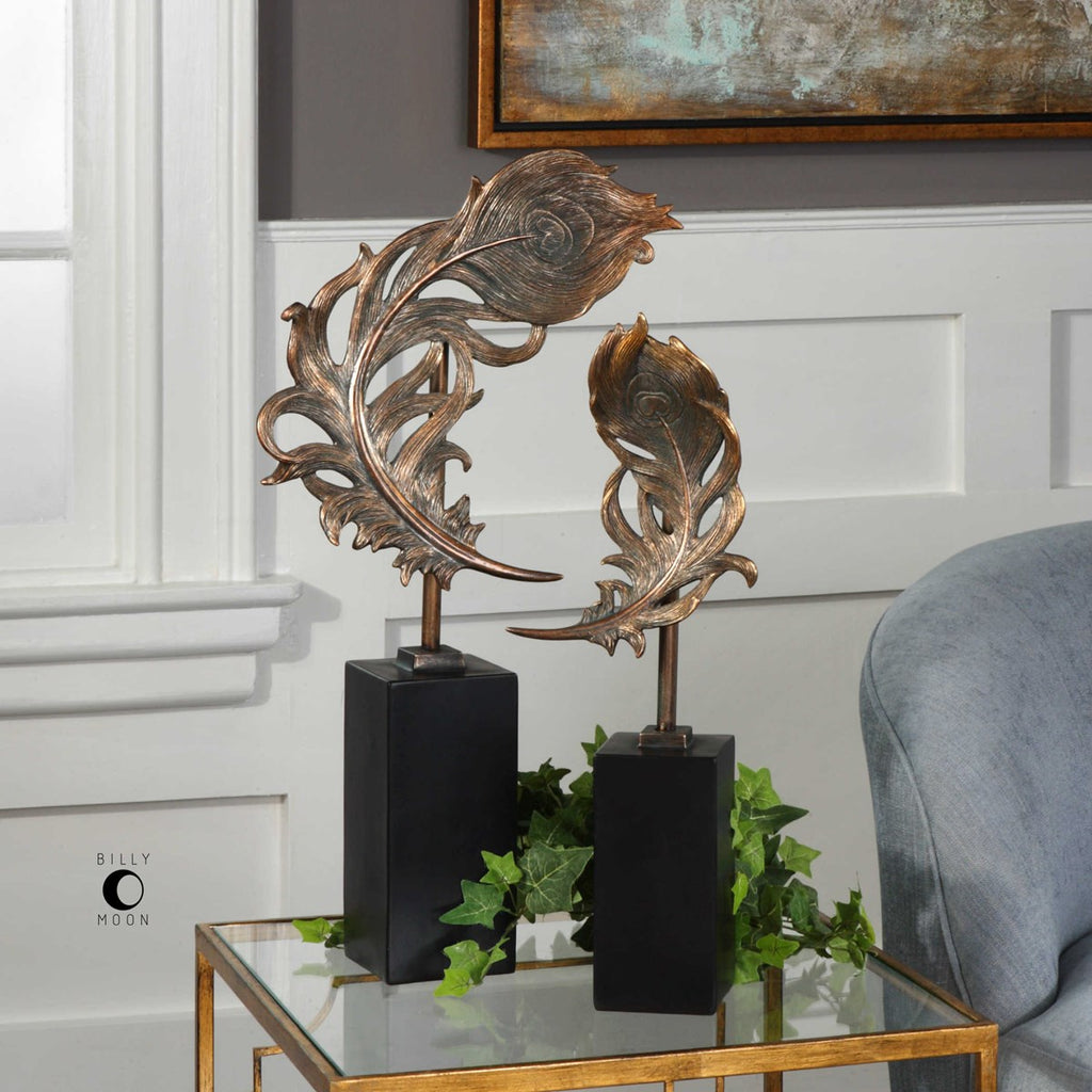 SET OF 2 FEATHERS SCULPTURE