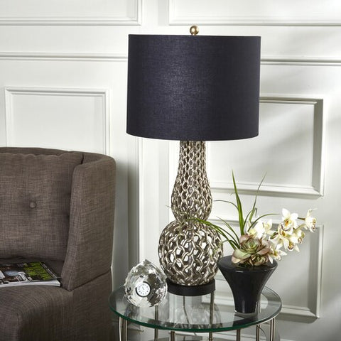 "POLYRESIN 31"" BASKET WEAVE TABLE LAMP, SILVER"