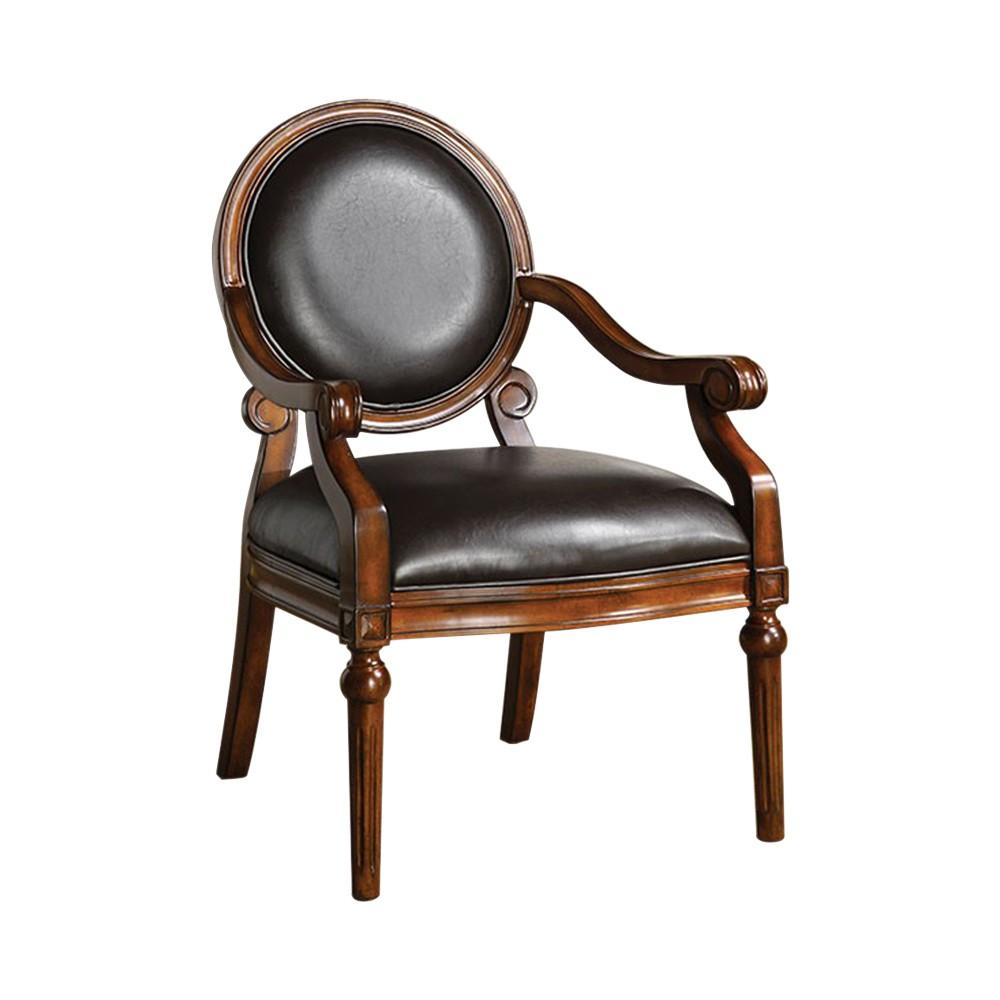 Traditional Accent Chair, Tobacco Oak