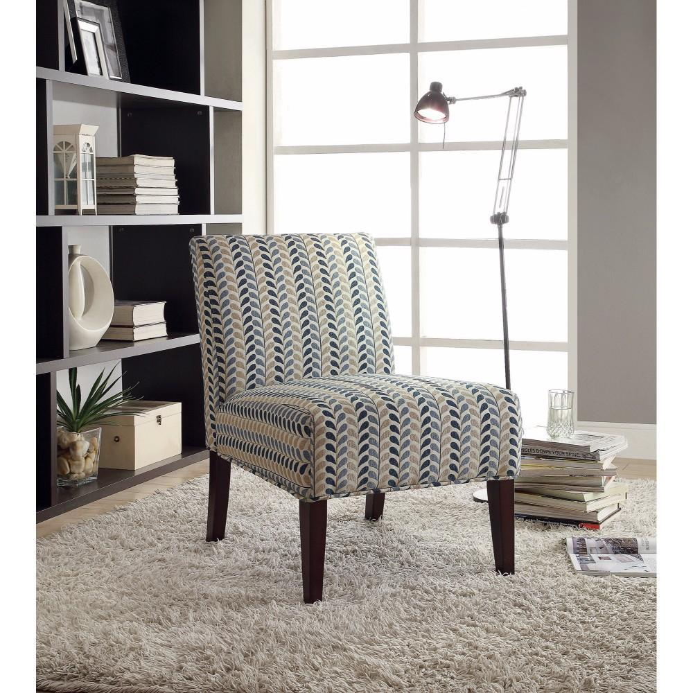 Rustically Charmed Accent Chair, Blue/Beige