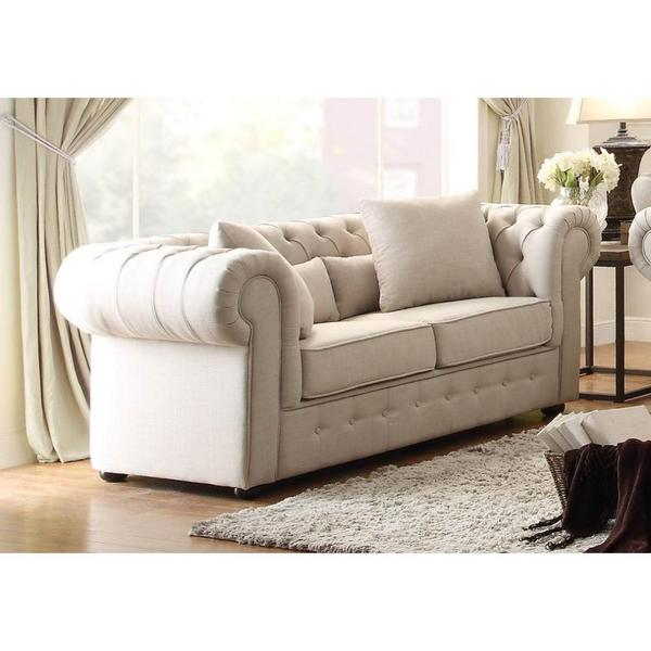 Button Tufted Loveseat With Rolled Arms, Beige
