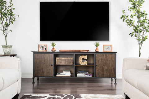"72"" Wooden And Metal Frame TV Stand With 4 Open Shelves In Brown"