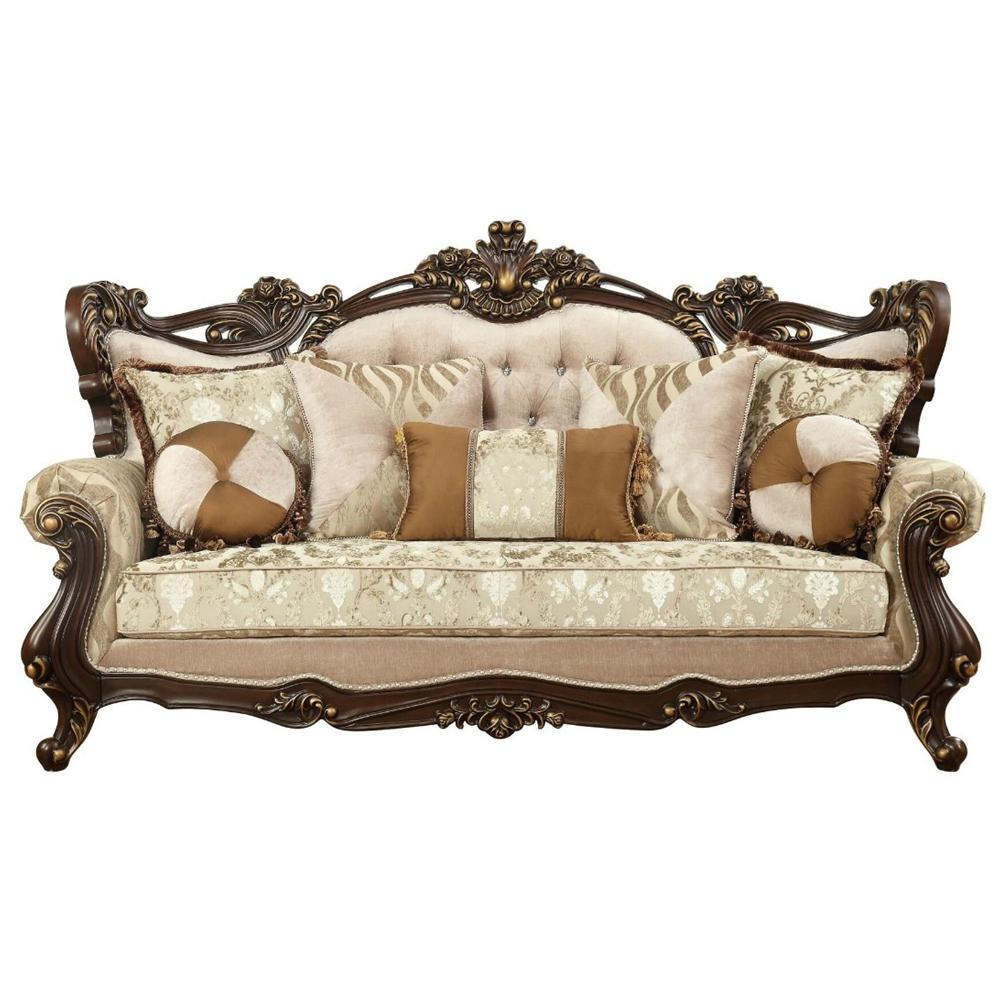 Rolled Arm Loveseat With Floral Arched Backrest And Five Pillows, Brown And Beige