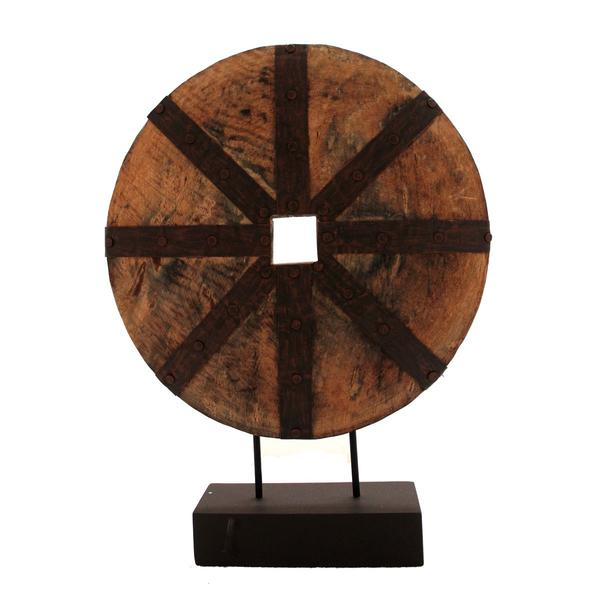Decorative Wooden Disk Statue On Iron Stand, Brown