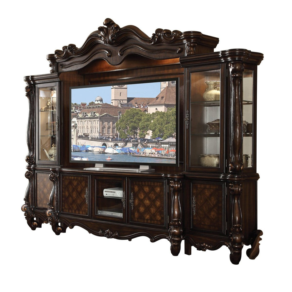 Wood And Glass Entertainment Centre With Scrollwork Details, Brown