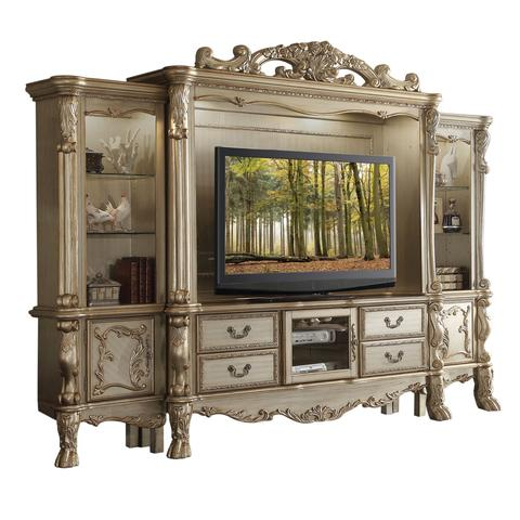 Baroque Style Wooden Entertainment Center With Glass Shelves, Gold